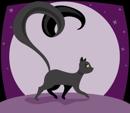 Black kitty struts along with a long, swirly tail - night sky with huge moon and stars in the background Vettoriali