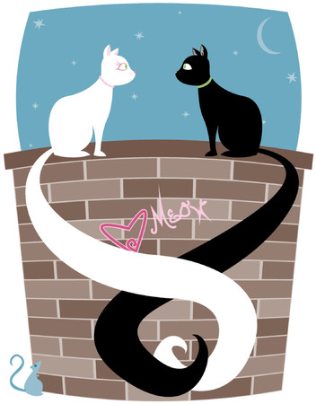 Black cat and white cat on a brick wall, tails entwined... little mouse looks up at the couple