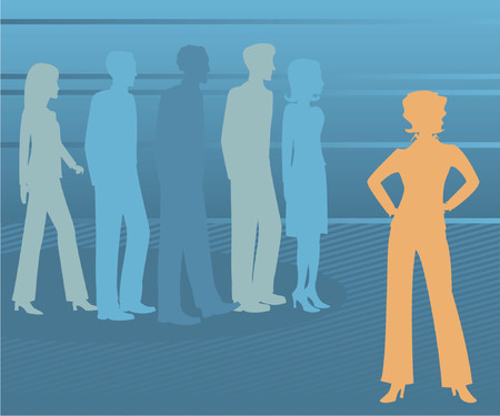 supervise: Woman leader stands out, with others in profile and fading into the background