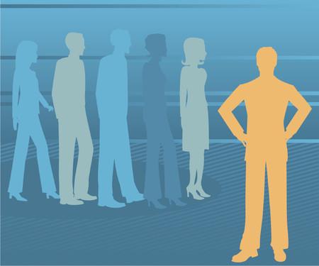 남성 비즈니스 리더는 프로필에서 다른 사람들과 눈에 띄고 배경으로 희미 해지고 있습니다. 일러스트