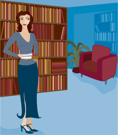 Woman holding books and browsing or working in a library or bookstore