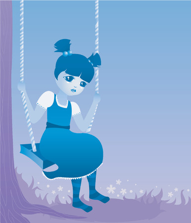 sad little girl: Sad little girl swings from a tree... cute as a button, but blue as can be