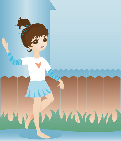 Cute little girl waves andamp,quot,Helloandamp,quot, to her friends in the neighborhood 矢量图像