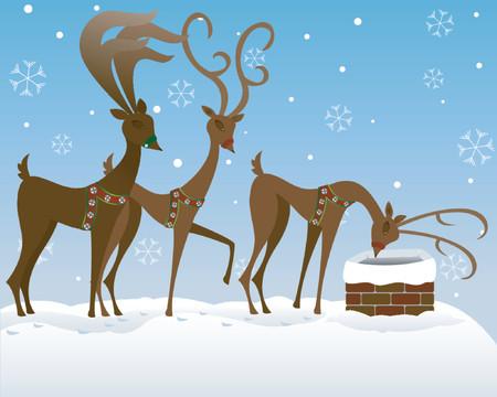눈 덮인 옥상에 산타의 순 록 3 개, 그가 굴뚝에 있는지보기. 일러스트
