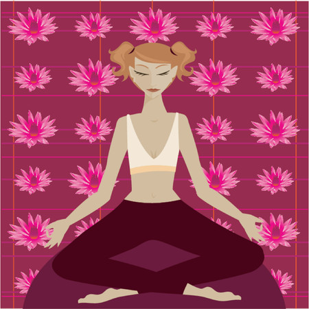 Woman in yoga meditation position in front of a colorful lotus flower pattern Vettoriali