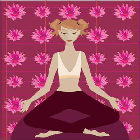 yoga meditation: Donna in posizione yoga meditazione di fronte a un fiore di loto colorati modello  Vettoriali