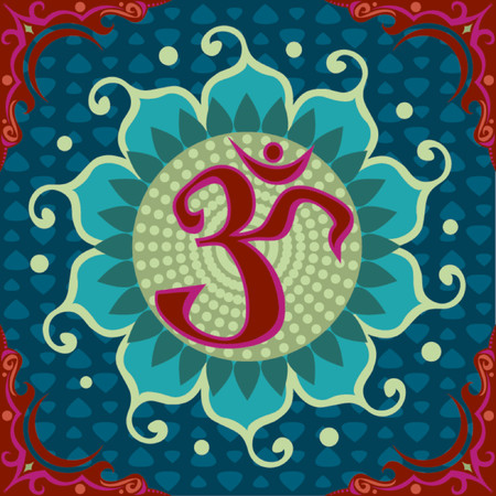 aum: Aum symbol, within a Lotus shape, within an ornamental red frame