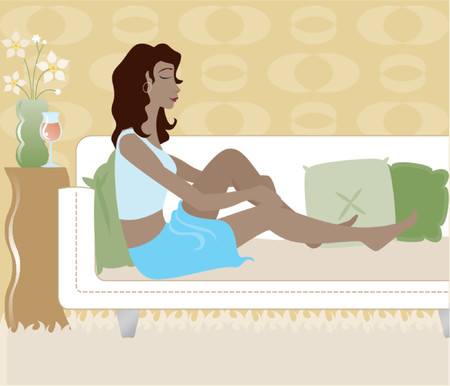 lay: Stylish young woman lounging on a sofa in a cool, mod livingroom