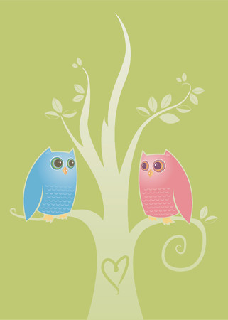 owl illustration: Two owls in love - perched in a tree with a carved into the trunk