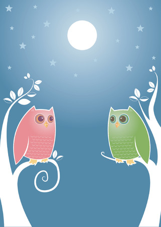owl illustration: Owls looking longingly into eachothers eyes under a bright full moon