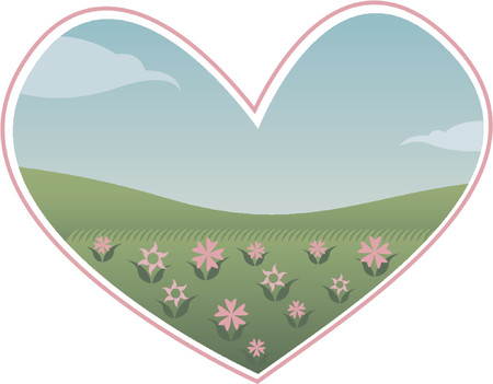 A heart shaped view of the world - with green grass, pink flowers and clear blue sky... perfect for Valentine designs and anything to do with love... and environmental designs