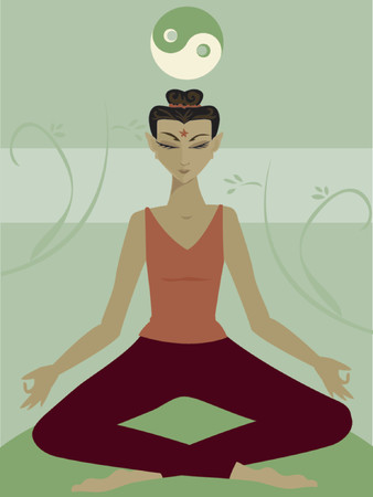 Woman meditates in the lotus position - in a calm setting, beneath the yin-yang symbol of balance
