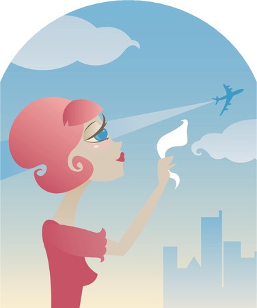 depart: Sad retro style girl waves goodbye with her hanky, as an airplane takes off into the sky