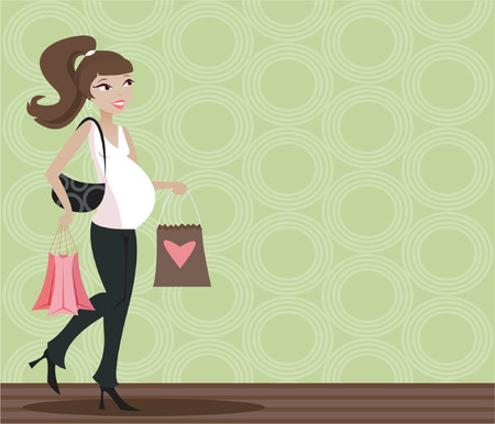 Mama-to-be in stylish black and white, carrying shopping bags Stock Vector - 607330