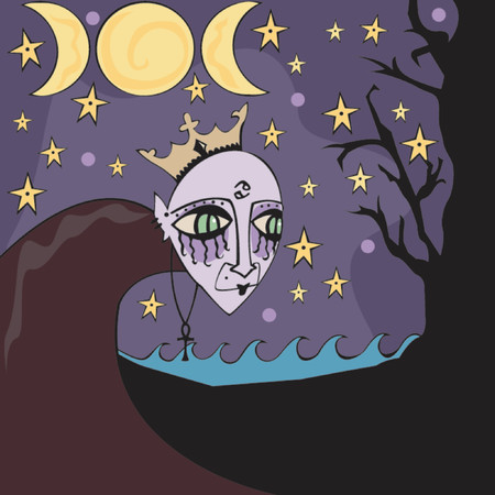 moon phases: Dark child of the moon - representing the astrological sign Cancer - surrounded by related symbols including 3 moon phases, ocean, night, crown and the Cancer symbol