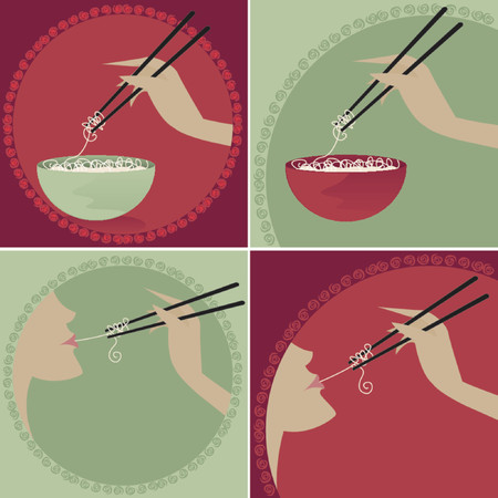 Rice noodle bowls and chopsticks -- Woman enjoying noodles on chopsticks Çizim