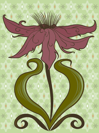 Stylized flower with long, open petals and swirling leaves - on a funky retro-style pattern  イラスト・ベクター素材