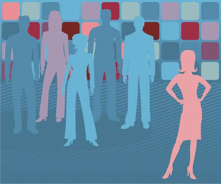 employ: Woman leader stands out, with others behind her fading into the background Illustration