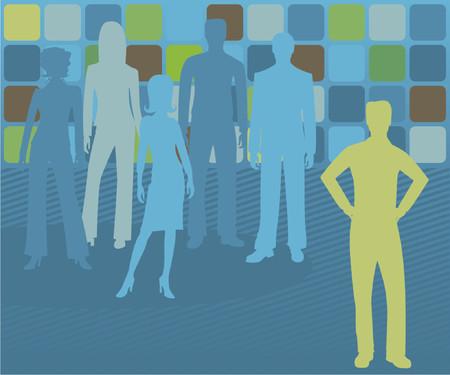 남성 비즈니스 리더는 배경으로 그녀의 퇴색 뒤에 다른 사람과, 눈에 띄는