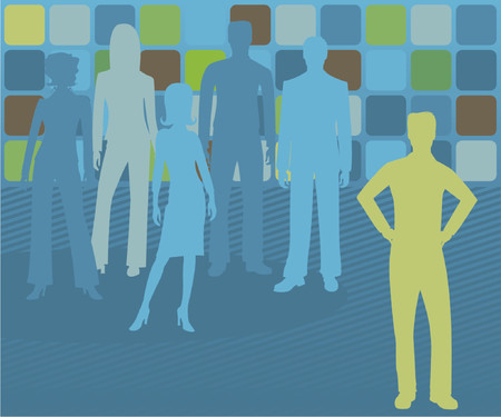 Male business leader stands out, with others behind her fading into the background Vector