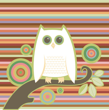 limb: Snowy white owl perched on a limb - colorful stripe and circle background