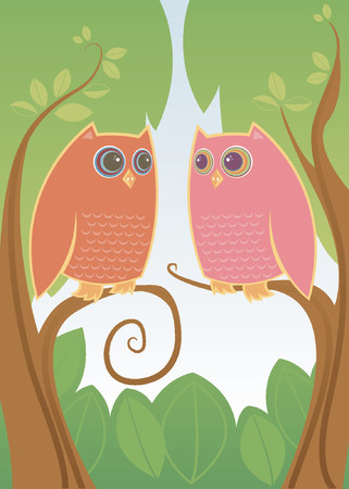 Two colorful owls in love - looking deeply into eachothers HUGE eyes