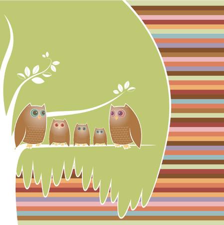kid vector: Familia de cinco b�ho posado en su �rbol acogedor, un fondo de rayas de colores  Vectores