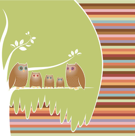 tree canopy: Family of five owls perched in their cozy tree, a colorful striped background Illustration