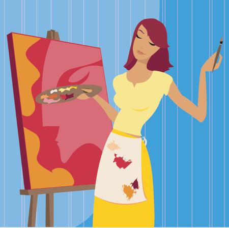 spattered: La mujer en la pintura spattered delantal, pintar un retrato