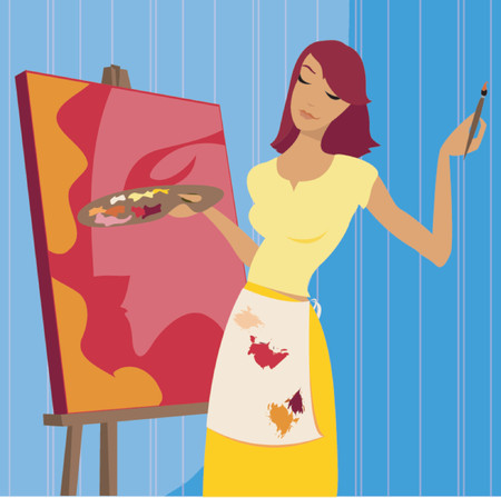 Woman in paint spattered apron, painting a portrait