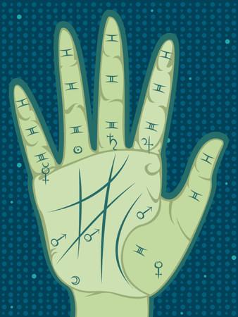 zeitlos: Palmistry Karte der Handfl�che die wichtigsten Linien, Reittiere und Segmenten - mit coresponding Planeten Symbole - auf einem gemusterten Hintergrund Punkte