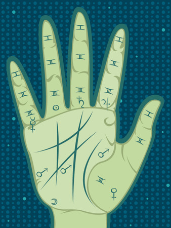 Palmistry map of the palm's main lines, mounts and segments - with coresponding planet symbols - on a patterned background of dots 일러스트
