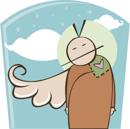 robe: Angel character with one wing and a stitched heart sewn onto his robe - partial halo behind his head Illustration
