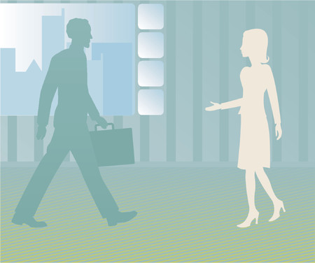 outstretched: Business man walks towards a female client, employee or associate with her hand outstretched to greet him
