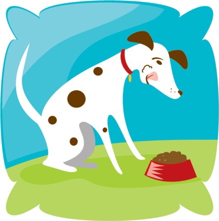 eats: Spotted puppy eats his chow Illustration