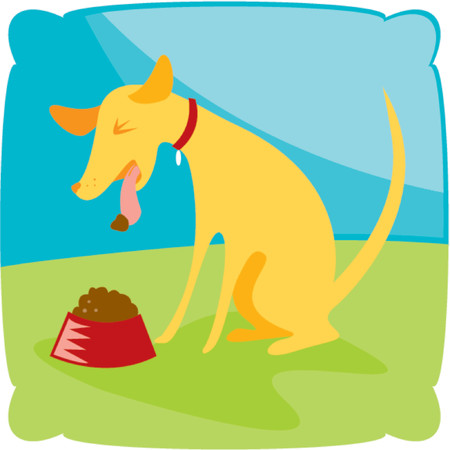 yuck: Puppy spitting his icky food back out into the bowl Illustration