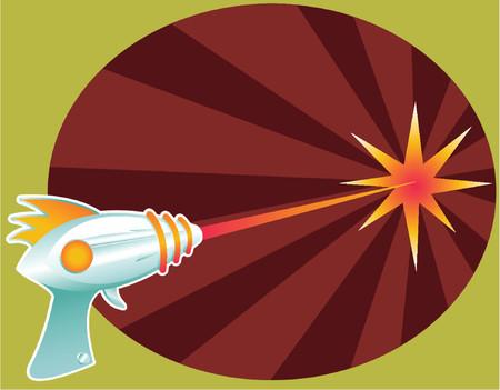 깜짝: Retro raygun blasting laser death rays into the distance... 일러스트