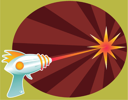blast: Retro raygun blasting laser death rays into the distance... Illustration