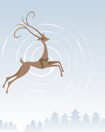 Stylized reindeer flies through the winter sky and over the trees below Stock Vector - 607296