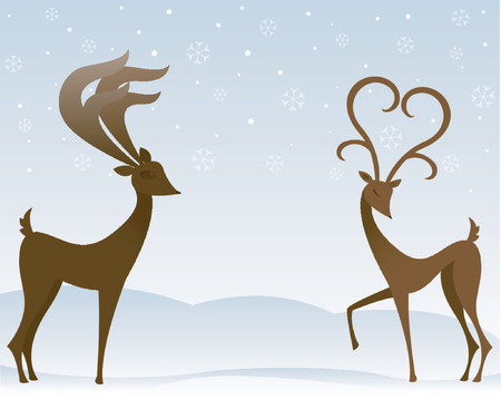 Two stylized reindeer flirt in the snow - the females antlers resemble a large heart