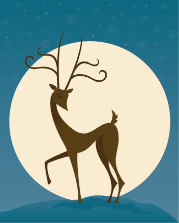 surrounded: Stilizzata di renna sta di fronte a una luna piena, circondato da neve nella notte cielo
