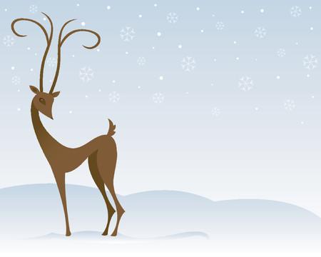 surrounded: La renna stilizzata si leva in piedi nella neve, circondata dai fiocchi di neve Vettoriali