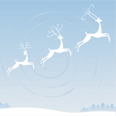 below: Three reindeer fly through the winter sky over the trees and snowy terrain below -- each with unique antlers Illustration