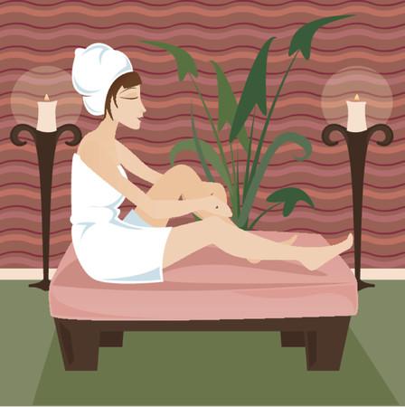 mujer estres: Mujer en toalla se relaja en un retiro lujoso spa, rodeado de velas y verde