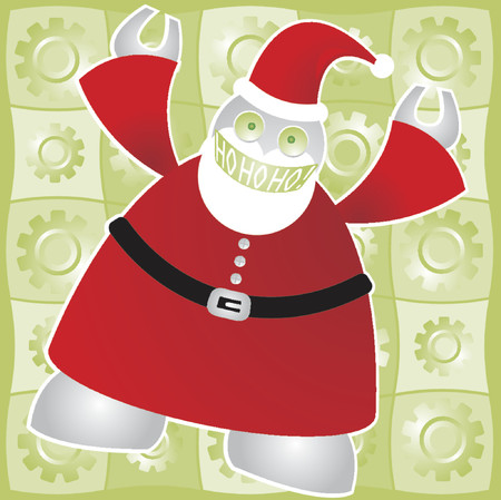 Super modern and ultra-efficient Santabot exclaims a hearty and joyous Ho Ho Ho! - includes a background of shiny gears in bright green