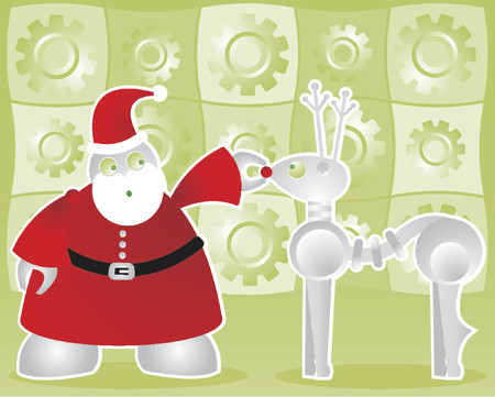 Santabot examines his robodeer's nose bulb to make sure it will light up - includes a background of shiny gears in bright green Stock Vector - 607285