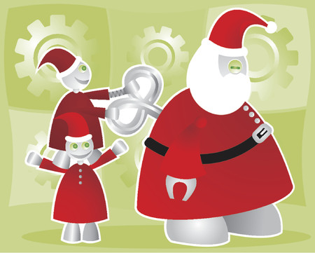 Shiny, happy robot elves wind-up the worn-out Santabot Vector