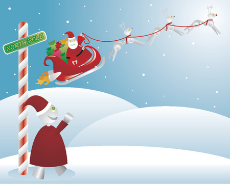 Santabot takes off in his sleigh, pulled by robodeer, a happy elf waving from below Vector