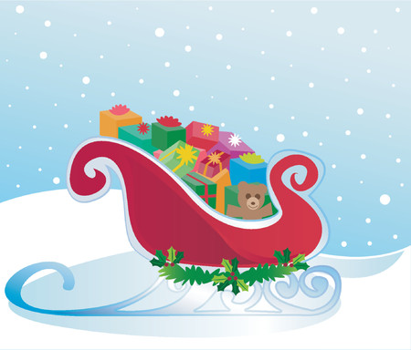 red gift box: Santas sleigh packed to the brim with colorful Christmas gifts