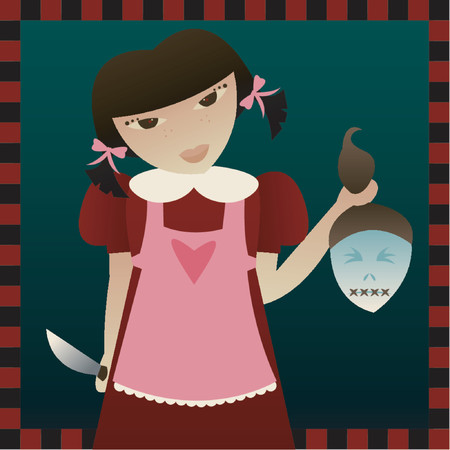 Bad little girl in an apron holding a knife and disembodied head - great for Halloween